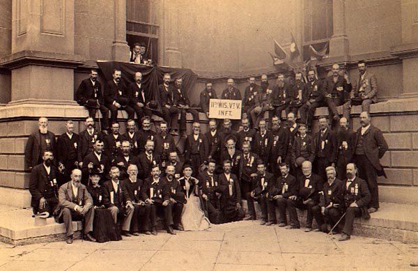 Found the following in the Wisconsin Archive, thought I would share! Reunion of the 11th Wisconsin Volunteer Infantry veterans. The building is probably the old Milwaukee County courthouse, Milwaukee, Wisconsin,...